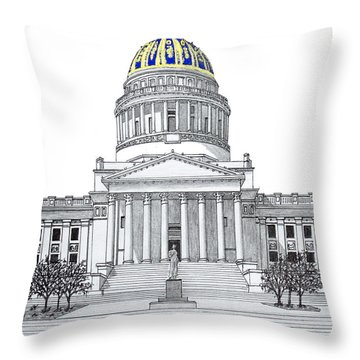 West Virginia State Capitol Throw Pillow by Frederic Kohli
