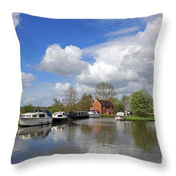 Wey Canal Surrey England Uk Throw Pillow