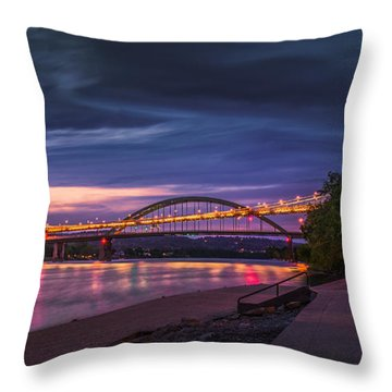 Throw Pillow featuring the photograph Wheeling Suspension Bridge  by Mary Almond