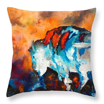 Throw Pillow featuring the painting White Buffalo Ghost by Karen Kennedy Chatham