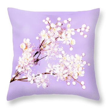 White Flowers  Throw Pillow by Tommytechno Sweden