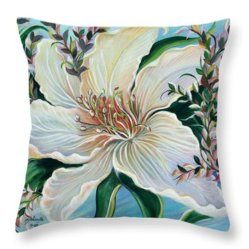 Throw Pillow featuring the painting White Lily by Yolanda Rodriguez