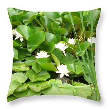 Throw Pillow featuring the photograph White Lotus by Kristen R Kennedy