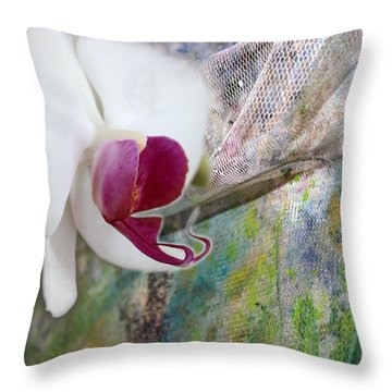 White Orchid Abstract Throw Pillow