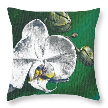 White Orchids II Throw Pillow