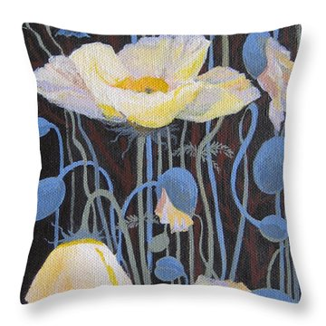 Throw Pillow featuring the painting White Poppies by Marina Gnetetsky