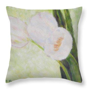 White Tulips On Stems With Foliage Throw Pillow