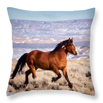 Eagle - Wild Horse Stallion Throw Pillow