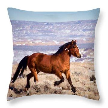 Eagle - Wild Horse Stallion Throw Pillow
