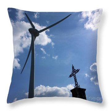 Wind Turbine And Cross Throw Pillow by Bernard Jaubert