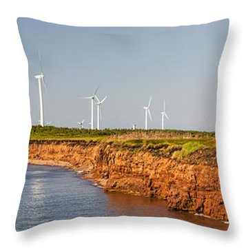 Wind Turbines On Atlantic Coast Throw Pillow by Elena Elisseeva