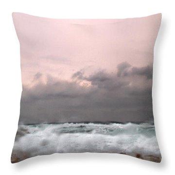 Window Sea Storm  Throw Pillow by Stelios Kleanthous