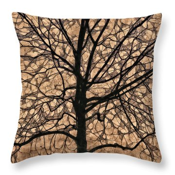Windowpane Tree In Autumn Throw Pillow
