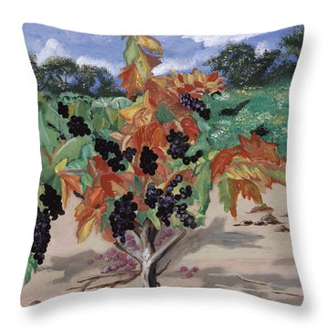 Wine Country Throw Pillow by Reba Baptist
