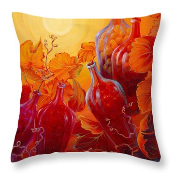 Throw Pillow featuring the painting Wine On The Vine II by Sandi Whetzel