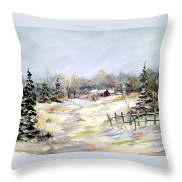 Winter At The Farm Throw Pillow