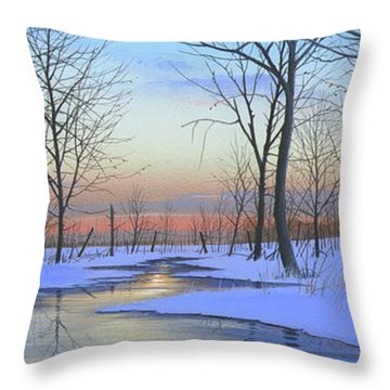 Throw Pillow featuring the painting Winter Calm by Mike Brown