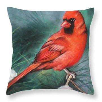 Throw Pillow featuring the painting Winter Cardinal by Melinda Saminski