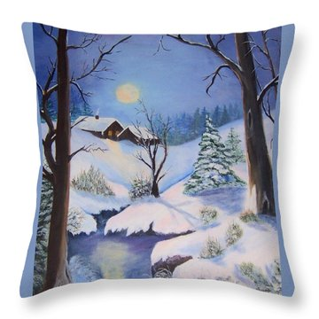 winter Moon Throw Pillow by Catherine Swerediuk