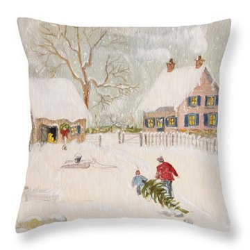Throw Pillow featuring the photograph Winter Scene Of A Farm With People/ Digitally Altered by Sandra Cunningham
