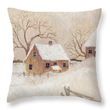 Throw Pillow featuring the photograph Winter Scene With Farmhouse/ Digitally Altered by Sandra Cunningham