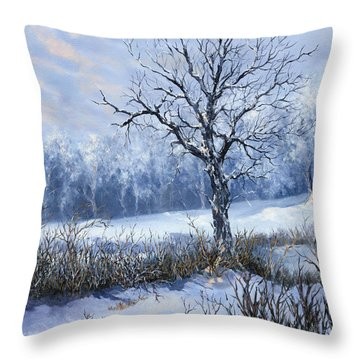 Throw Pillow featuring the painting Winter Slumber by Lynne Wright