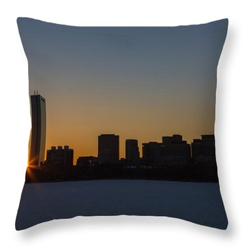 Winter Sunrise On The Charles II Throw Pillow