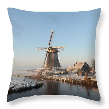 Winter Windmill Landscape In Holland Throw Pillow
