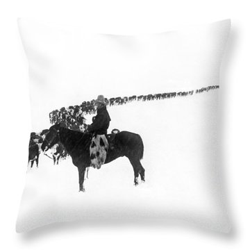 Wintertime Cattle Drive Throw Pillow