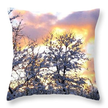 Wintry Sunset Throw Pillow by Will Borden