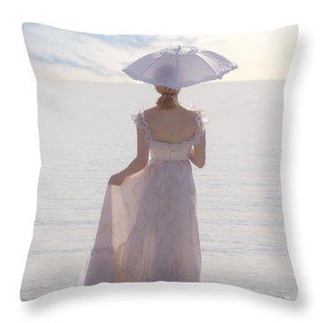 Woman At The Beach Throw Pillow by Joana Kruse