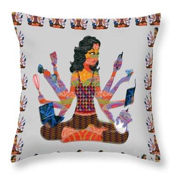 Modern Woman Female Spiritual Inspiration Multitasking Leadership Goddess Background Designs   Throw Pillow