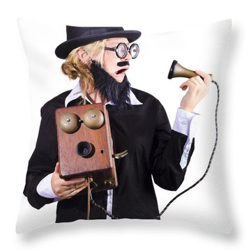 Woman Holding Antique Telephone Throw Pillow