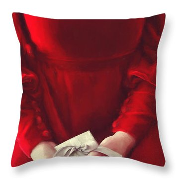 Throw Pillow featuring the photograph Woman In Red Dress Holding Gift/ Digital Painting by Sandra Cunningham