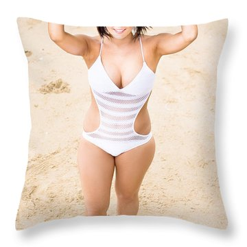 Woman Smiling With Surf Board Throw Pillow