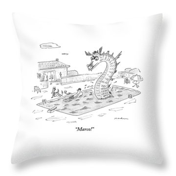 Woman Speaks To Man In A Pool With The Lochness Throw Pillow