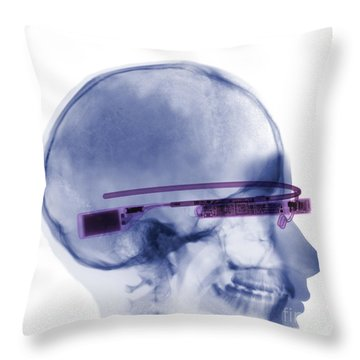 Woman Wearing Google Glass X-ray Throw Pillow by Ted Kinsman