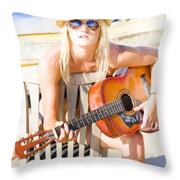 Woman With Guitar Throw Pillow
