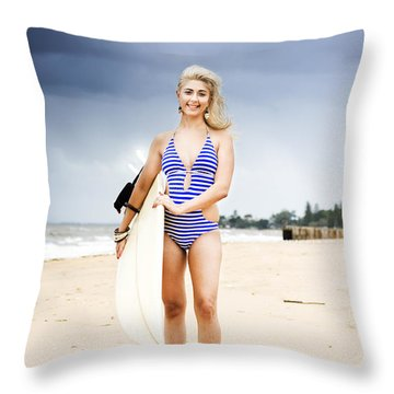 Woman With Surf Board Throw Pillow