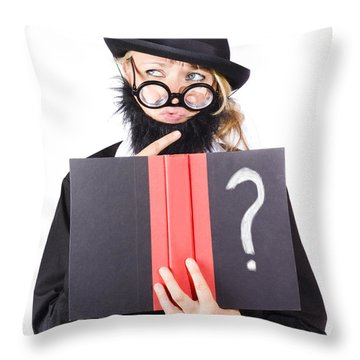 Wondering Woman With Text Book Question Throw Pillow