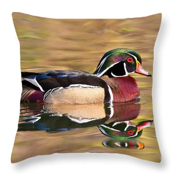 Throw Pillow featuring the photograph Wood Duck by Ram Vasudev