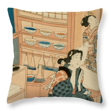 Woodblock Production Throw Pillow by Japanese School