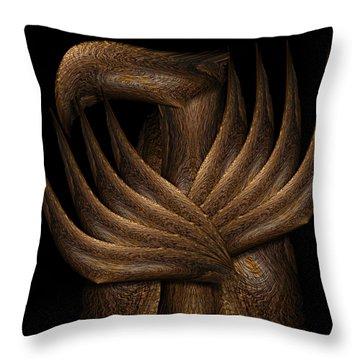 Wooden Bird Throw Pillow by Christopher Gaston