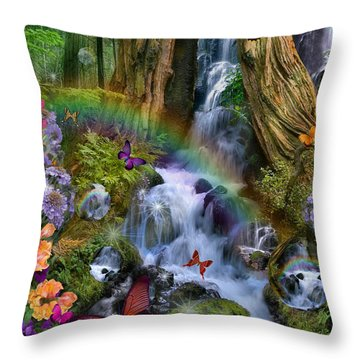 Woodland Forest Fairyland Throw Pillow by Alixandra Mullins