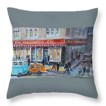 Throw Pillow featuring the painting Woolworth's Holiday Shopping by Rita Brown