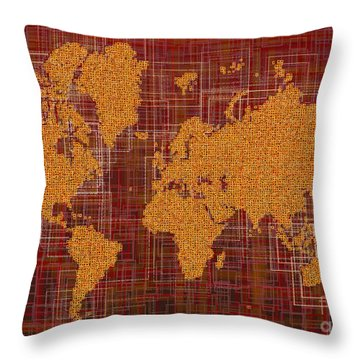 World Map Rettangoli In Orange Red And Brown Throw Pillow by Eleven Corners