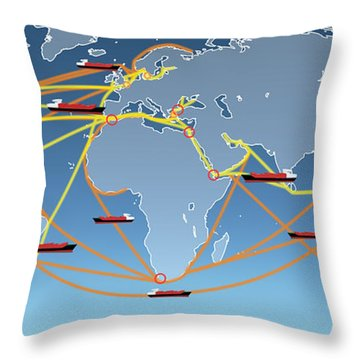 World Shipping Routes Map Throw Pillow by Atiketta Sangasaeng