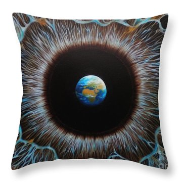 Throw Pillow featuring the painting World Vision by Paula L