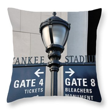 Yankee Stadium Sign Post Throw Pillow