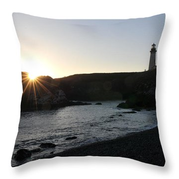 Yaquina Head Sunset Throw Pillow by Rebecca Parker